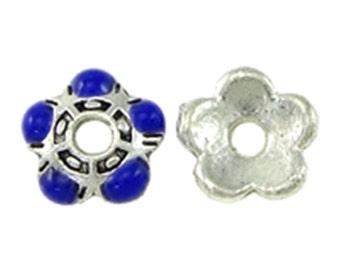 10pc blue colored 5.5mm small antique silver finish bead caps-8379F