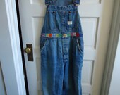 "Vintage 70s BIG MAC OOAK Hand Embroidered Bib Overalls sz 33""x29"""