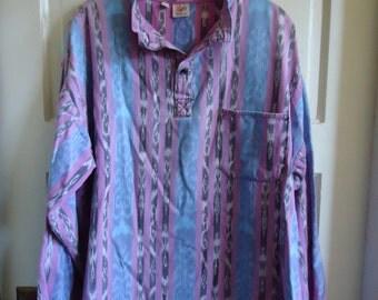 Vintage 80s GUATEMALAN IKAT Long Sleeved Pullover Shirt sz L/XL