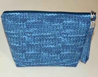Designer Denim Blues Knit Purl print project bag