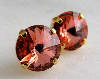 Estate Style Vintage Rose Peach Swarovski Crystal Stud Earrings