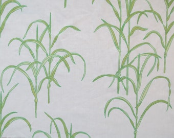 One Yard of Vintage Sheet Fabric - Green Grasses - 1 yd