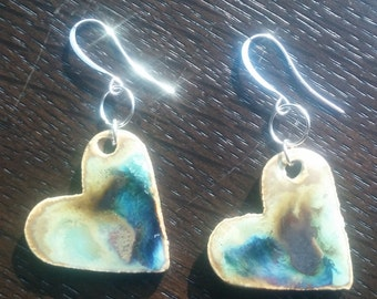 Blue and Yellow Heart Ceramic Earrings