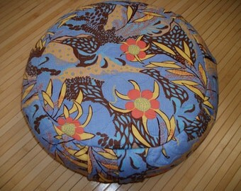 Meditation Cushion. Zafu. UNFILLED COVER. Quilted Blue and multi-colored Floral Cotton Fabric. Sidewall Zipper. Handmade, USA