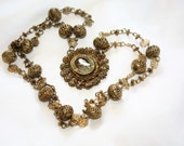 RESERVED      Vintage Reliquary Necklace, Filigree Rosary, Tamborin Tambourine Relikaryo, Philippine Rosary, 1850s Jewelry