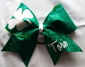 Green Shamrock Cheer Bow