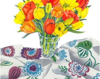 Tulips on Floral Cloth Limited Edition Signed Print