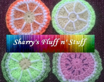 4 fruit slice crochet coasters