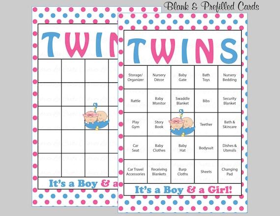 60 Twins Baby Shower Bingo Cards 60 Prefilled Bingo