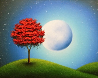 Whimsical Art Photo Print, Colorful Modern Art Poster, Full Moon Red Tree Picture, Contemporary Art Landscape Photography, Dreamy Nightscape
