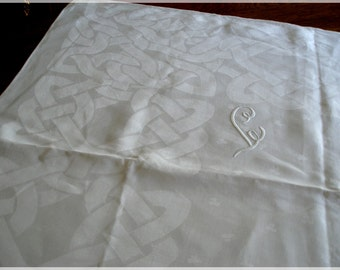 Vintage Damask Tablecloth Celtic Knot Monogram