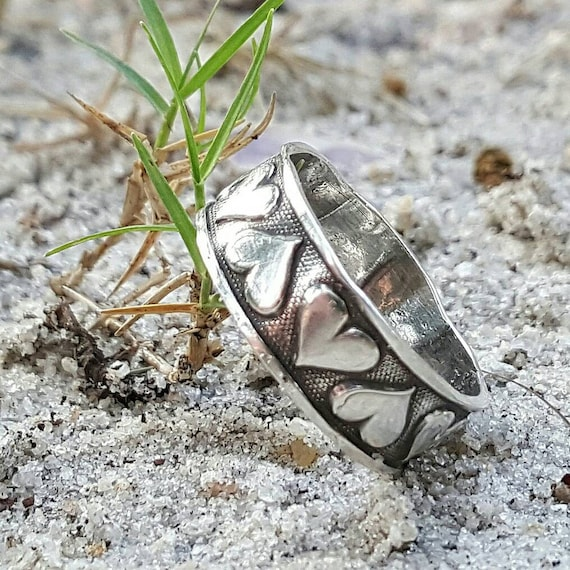 Alternative Silver Wedding Gifts : Silver heart ring wedding ring band anniversary gift gift