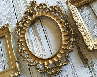 Ornate Gold Frames Set of three Wall Grouping Framing or Wedding