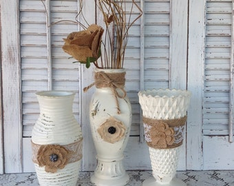 3 Shabby Cottage Chic Burlap & Jute Vases / White Wedding Collection / Rustic Cottage Chic Vase