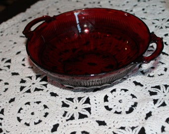 Antique Red Dish with handles and  design on bottom