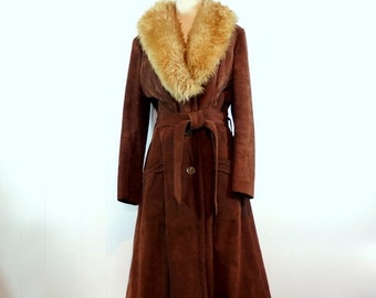 Brown Suede Princess Coat 1970s Vintage Gypsy Coat LARGE - Extra Large Black Sherpa Lining Huge Shearling Collar Tie Belt Bohemian Winter