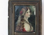 Reserved for Sukaro - Rare Vintage Wood Mirror - 17x 6 Chippy Divided Mirror with Portrait of A Woman, Feminine Home, Gifts for Her, Cottage