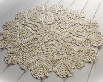 Large crochet doily Ivory lace doilies Table decoration Cream crochet centerpiece Large lace doily Crochet decoration Living room decor 288