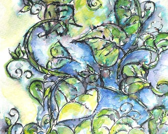 "ORIGINAL watercolor and ink painting, NOT a print. ""Leafy Hearts"""