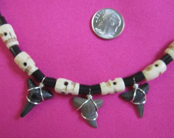 Adjustable Fossilized Shark Teeth Leather Rope Necklace