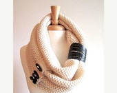 SALE Infinity Knit Scarf with Black Buttons and Leather Cuff Neck Warmer Cream Scarves Women Girls Accessories