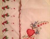 A Valentine Handkerchief and Holly Handkerchief/ Set of Two Hankies
