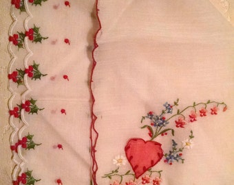 A Valentine Handkerchief and Holly Handkerchief/ Set of Two Hankies