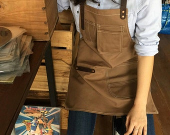 New Brown Canvas Apron no.04 Copper rivets one pockets Neck Leather /garden/barista/ Handmade