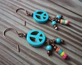 Clearance Peace Sign Earrings Turquoise Blue Dangle Drop Copper Earrings Peace Sign Jewelry Copper Jewelry Hippie Jewelry Hippie Earrings