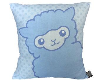 Alpaca Pillow - Alpaca Gifts - Cute Pastel Alpaca Cushion - Pastel Blue Cushion - Kawaii Japanese Alpacas - Alpacasso - Cute Pillows