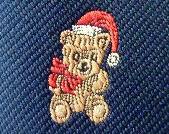 """Vintage Cape Cod Neckwear """"CHRISTMAS TEDDY BEARS"""" on Navy Blue Christmas Holiday Trad / Ivy League Emblematic Club Neck Tie."""