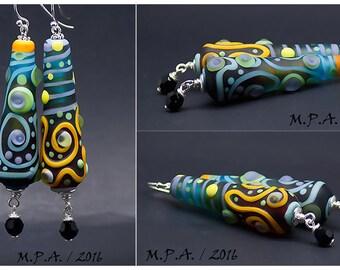 Bottle green, blue, lampwork Earrings, Sterling Silver and Swarovski Chrystal beads - Glass Art by Michou P.Anderson