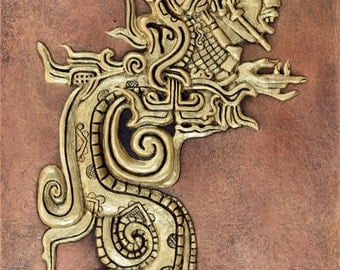 Mayan Divine Serpent - Cast Paper - Snake - South American - Guatemala - wall decor
