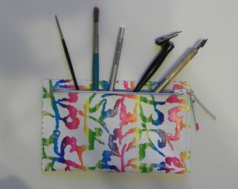 Bright Rainbow Printed Leather Pouch