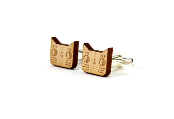 Cat cufflinks - animal accessory for men - for the groom - lasercut maple wood - men jewelry - wedding jewellery - father's day - feline