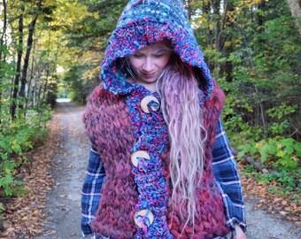 Hooded sweater Knit jacket Boho jacket Extreme knit Purple knit sweater Warm knit jacket Bulky knit Hand woven Knit vest Wool jacket