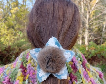 Hair elastic Pompom pony holder White blue hair clip Recycled fur Gift for her Blue hair tie pompom hair tie Eco hair accessory Winter hair