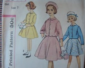 vintage 1960s simplicity sewing pattern 4331 girls suit with detachable collar size 7
