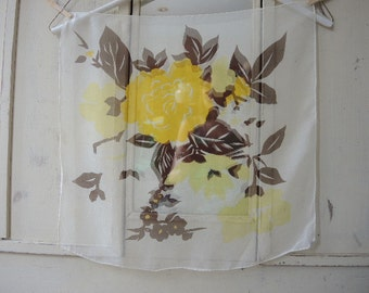 Vintage 1950s sheer scarf 100 percent silk brown and yellow floral 21 x 21 inches