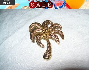 SALE 60% Off vintage goldtone palm tree brooch pendant