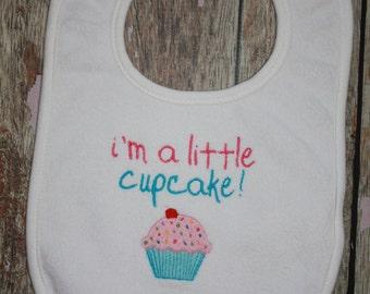 I'm a little Cupcake...machine embroidery design on a bib.