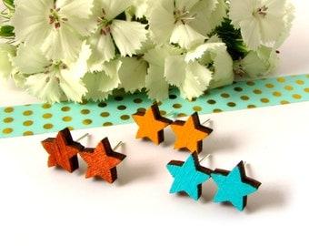 Star Stud Earrings - Wooden Earrings - Star Jewellery - Constellation Studs - Zodiac Jewelry - Yellow Star Earrings - Birthday Gift