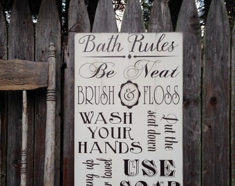 Bath Rules Typography Bathroom Brush Floss Be Neat Wash Hands Use Soap Rustic Distressed Pallet Style Sign 14x22