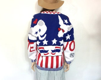 RARE Vintage 80's 90's Sweater Election Political Democrat Republican Red White Blue Cardigan Slouchy Oversized American USA Trump Hillary