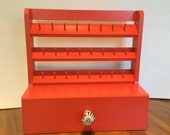 Spool Holder & drawer -Poppy Red - Sewing accessory-Sewing Storage solution - Holds 24 spools of thread