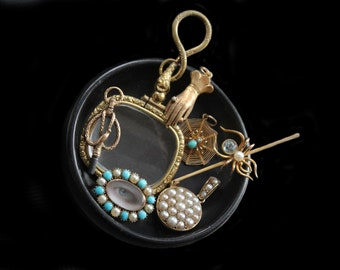 Sandra Hendler Miniature Lover's Eye Painting In Georgian Rose Gold, Turquoise & Pearl  Locket Brooch