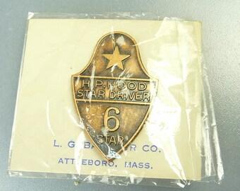Vintage HP Hood Dairy Award Service Pin 6 Year Driver Original Card