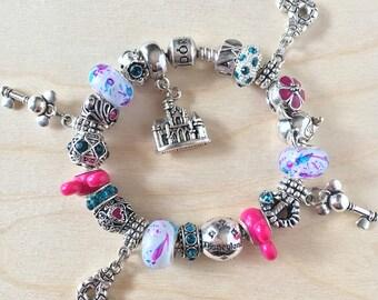 NEW Authentic Pandora 925 Silver Bracelet with European Charms Minnie Mouse Fuchsia & Teal