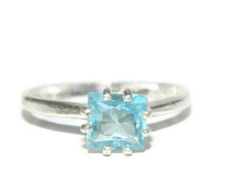 Sky Blue Topaz Ring, Princess Cut, Sterling Silver