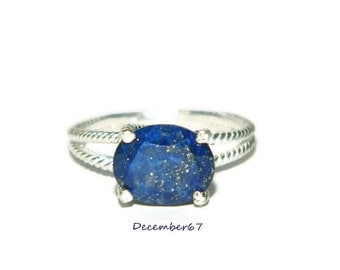 Lapis Lazuli Ring, Sterling Silver Ring, Ring With Oval Gemstone, Natural Gemstone Ring